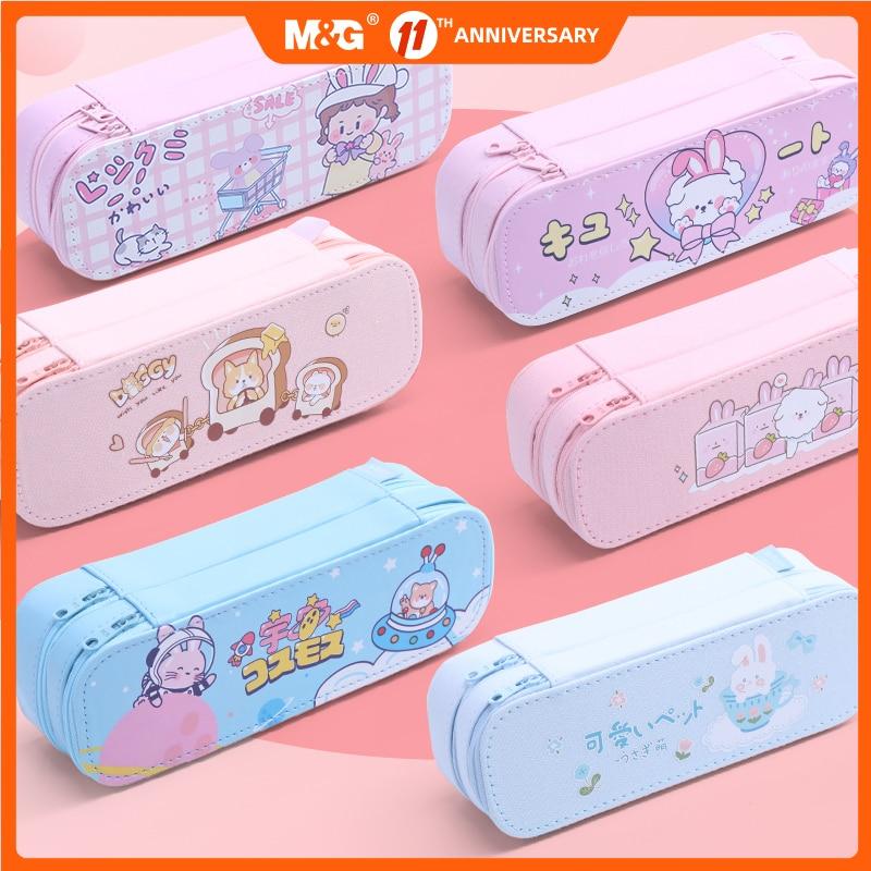 M&G kawaii Pencil Case Large Capacity Multi-Functional pencil bag Canvas PU Leather pen Box Pencil Bag Stationery Storage Bag