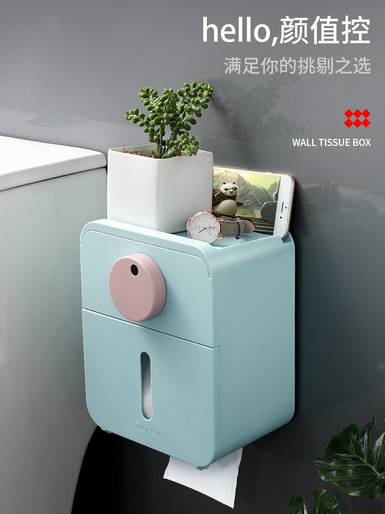 Multifunctional Toilet Paper Holder Waterproof Double Layer Wall Mount Tissue Dispenser Porta Rollos Bathroom Accessories DK50TP enlarge
