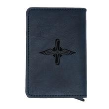 Classic ВВС Symbol rfid card wallet Vintage Men Women Russian Air Force  Leather Rocket Force money clips card purse cash holder