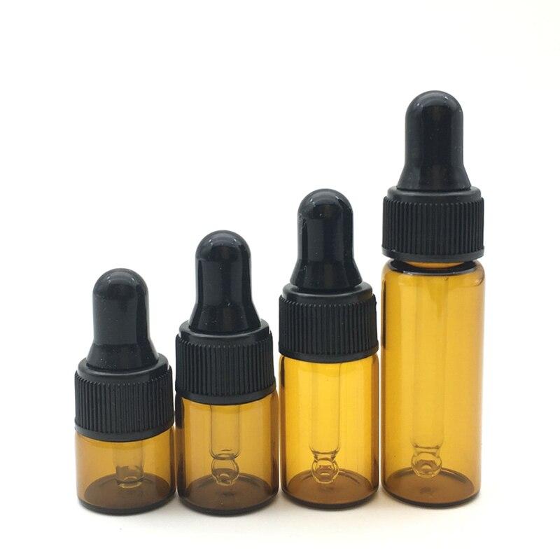 1pcs Aromatherapy Perfume Essential Oil Empty Dispenser Bottles 1ml 2ml 3ml 5ml Amber Glass Liquid Reagent Pipette Drop Vial