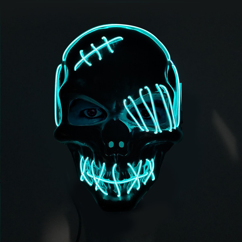 Halloween Scary One-Eyed Pirate Mask Cosplay Led Mask Adult Glowing Mask EL Wire Light Up For Halloween Festival Party Bar