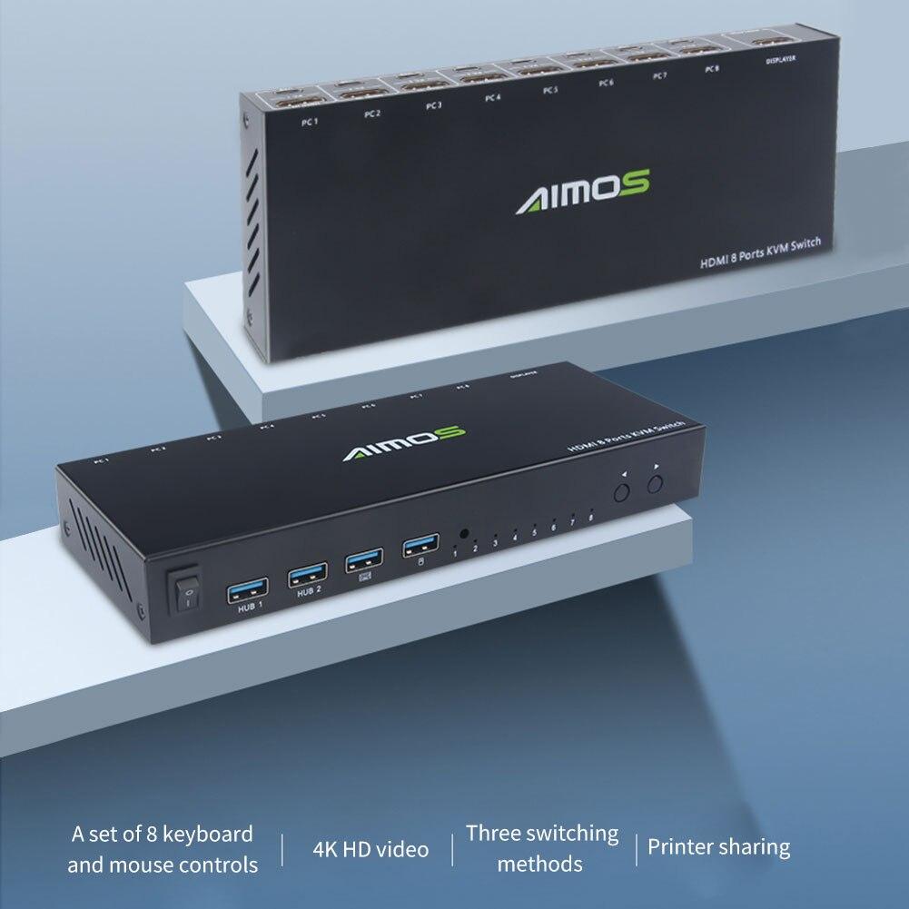 AIMOS AM-KVM801 USB التبديل 8 في 4 خارج HDMI-متوافق الجلاد صندوق دعم 4K 30Hz 8 منافذ أجهزة تقاسم الكمبيوتر لفأرة لوحة المفاتيح