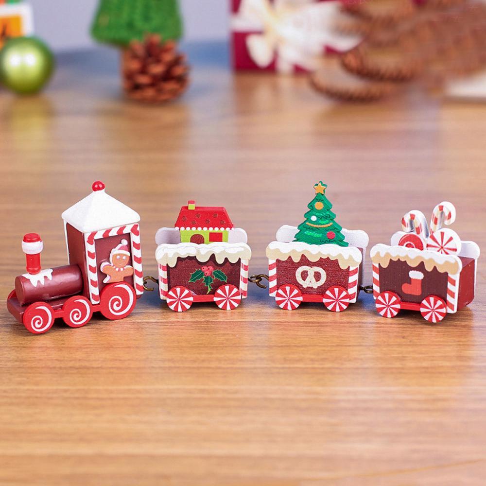 Tren de madera de Navidad 4 piezas madera Navidad tren decoración regalo camión Hobby divertido regalo para chico Envío Directo @ 5
