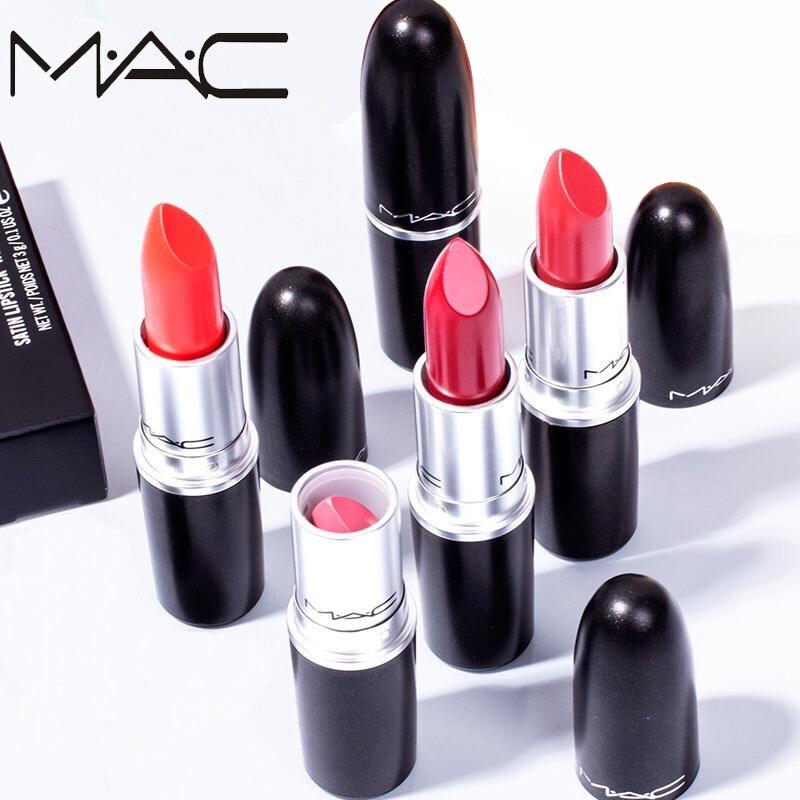 Nuevo maquillaje Mac, 19 colores diferentes, lápiz labial mate Sexy Miss Rose, lápiz labial de larga duración, lápiz labial cosmético con caja