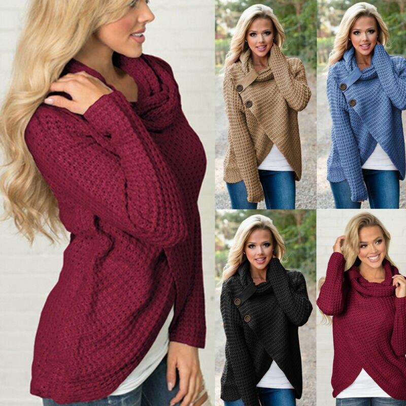 Las mujeres grueso tortuga cuello dobladillo asimétrico abrigo de suéter botón Detalles
