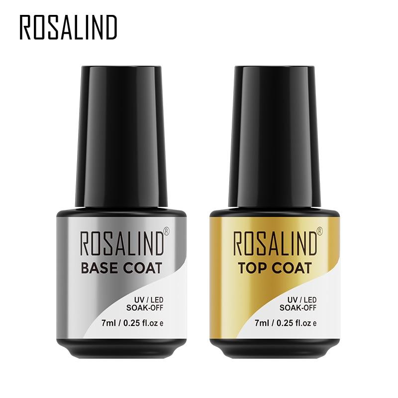 ROSALIND Top Base Coat Gel Polish UV Soak off Reinforce 7ml vernis Semi Permanent Nail Art Manicure Gel Varnish Primer base coat недорого
