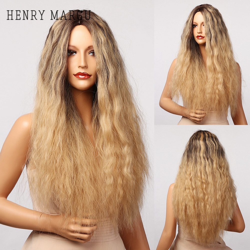 HENRY MARGU Long Blonde Ombre Wave Synthetic Wig For Women Curly Hair Wig Daily Natural Cosplay Wigs High Temperature Fiber