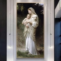 jesus and virgin mary baby portrait canvas painting posters and abstract prints scandinavian wall art picture for living room