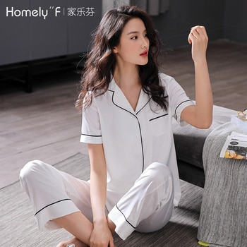 Pajamas Women's Summer Silk Ice Silk Short Sleeve Trousers Home Wear Summer Thin Artificial Silk White Large Size Suit