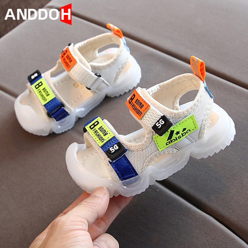 Size 22-31 Girls Soft Bottom Baotou Sandals Baby Breathable Hook Loop Shoes Children Anti-slippery Footwear Boys Casual Sandals