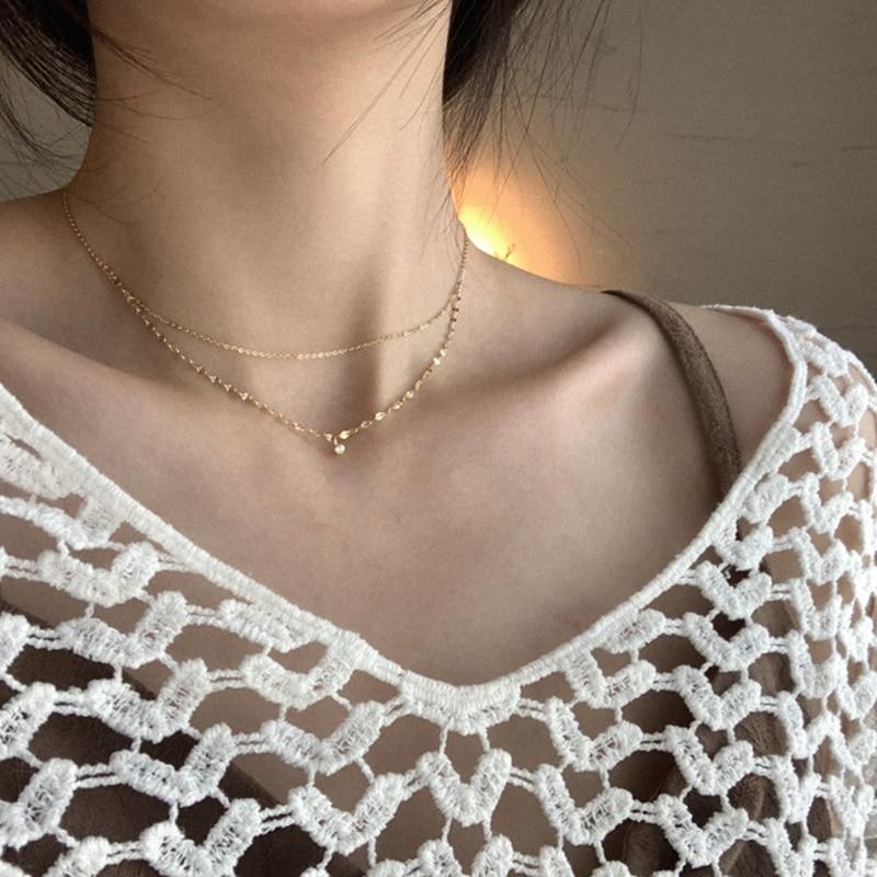 Collar de plata de ley 925 Silvology con cadena de doble capa con un solo circón, Collar corto brillante para mujer, colgante de joyería de lujo