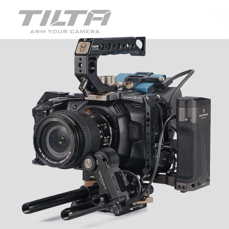 Tilta BMPCC 4K 6K كاميرا قفص TA-T01-A الكامل قفص الأسود قفص ل BlackMagic BMPCC4K 6K أعلى مقبض الجانب مقبض التكتيكية النهائي