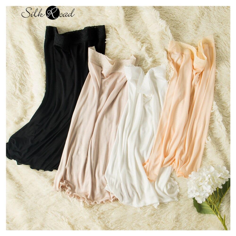 Silviye 2020 new silk women's silk knitting lace skirt silk petticoat bottom skirt nightdress blusas mujer de moda 2020