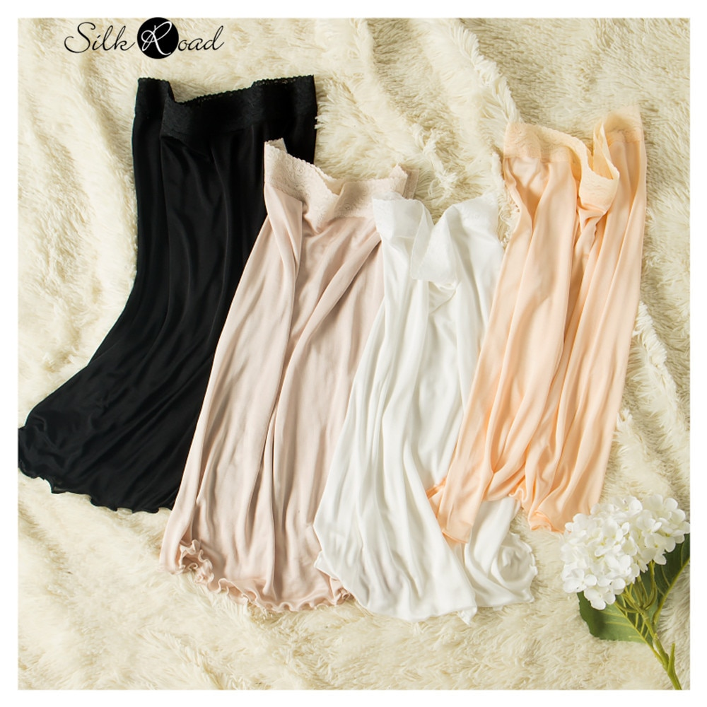 Silviye 2020 nova seda de tricô de seda das mulheres saia de renda de seda petticoat saia inferior camisola blusas mujer de moda 2020