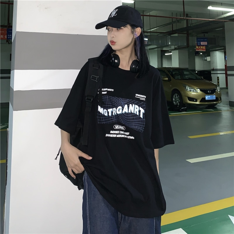 2021 Summer New Korean Ins Harajuku Style Letter Print Short Sleeve T-shirt Loose Student Top Men an
