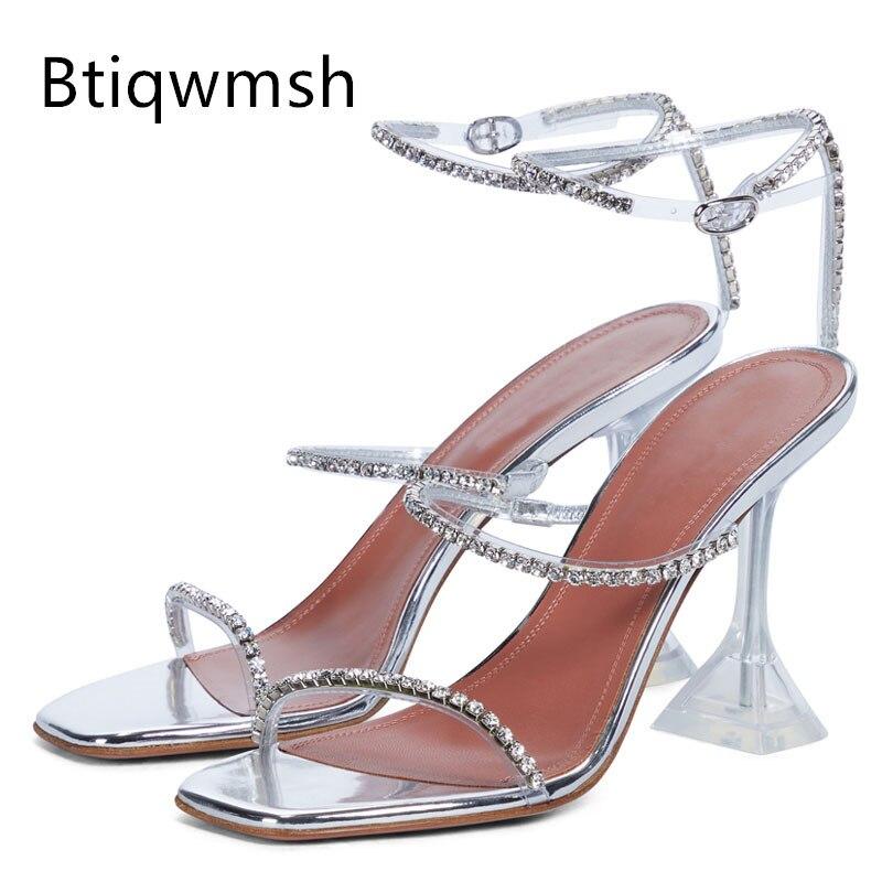 الفضة حجر الراين الصنادل النساء المفتوحة تو الماس ثلاثة حزام الكاحل حزام شفاف غريب عالية الكعب الإناث مثير أحذية الحفلات