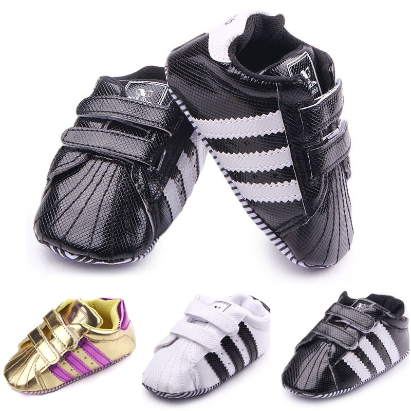 Baby Toddler Shoes for Girls PU Bright Leather Double Hook and Loop Sneakers Prewalker Newborn Casua