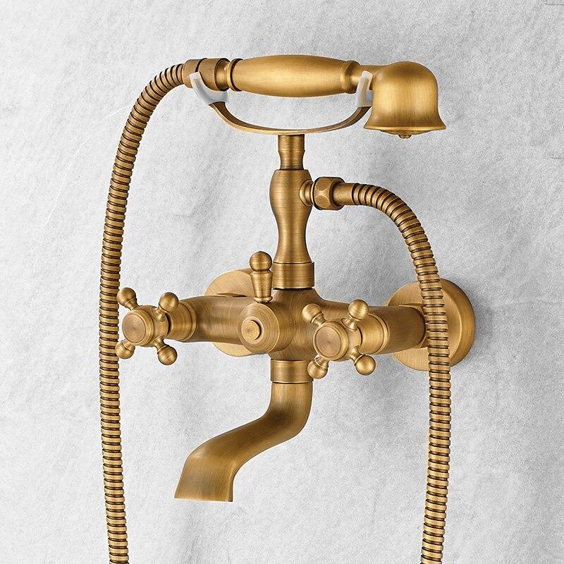 صنبور حمام نحاسي عتيق ، نمط هاتف ، حوض استحمام مع دش يدوي ، صنبور خلاط مثبت على الحائط