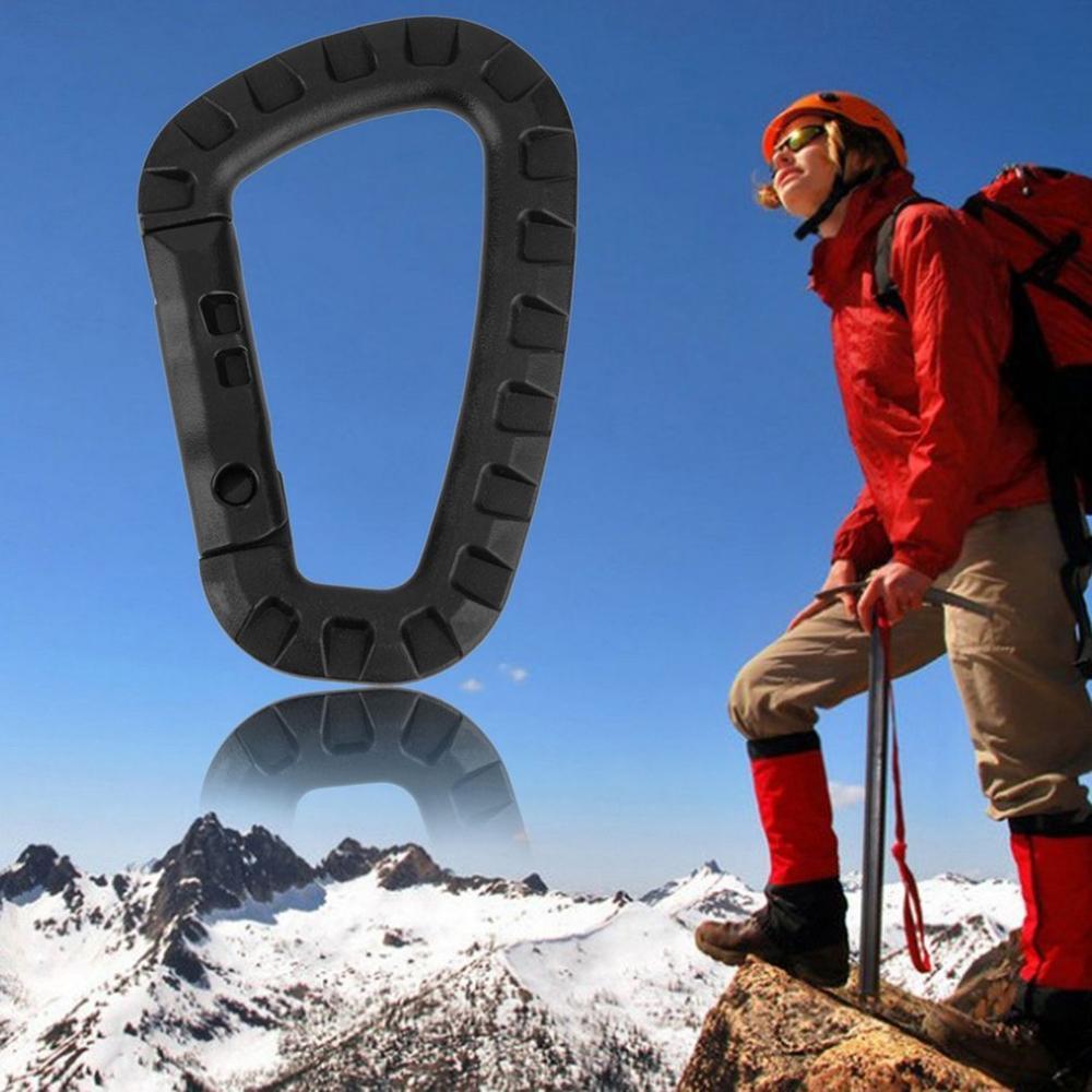 Hebilla de alpinismo en forma de D, 1 unidad, 200lb, Clip a presión, plástico, acero, mosquetón de escalada, colgante con enganche, apto para exteriores