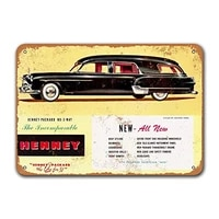 1951 henney packard nu 3 way hearse car metal tin sign vintage plaques poster garage man cave retro wall decor 12x8 inch