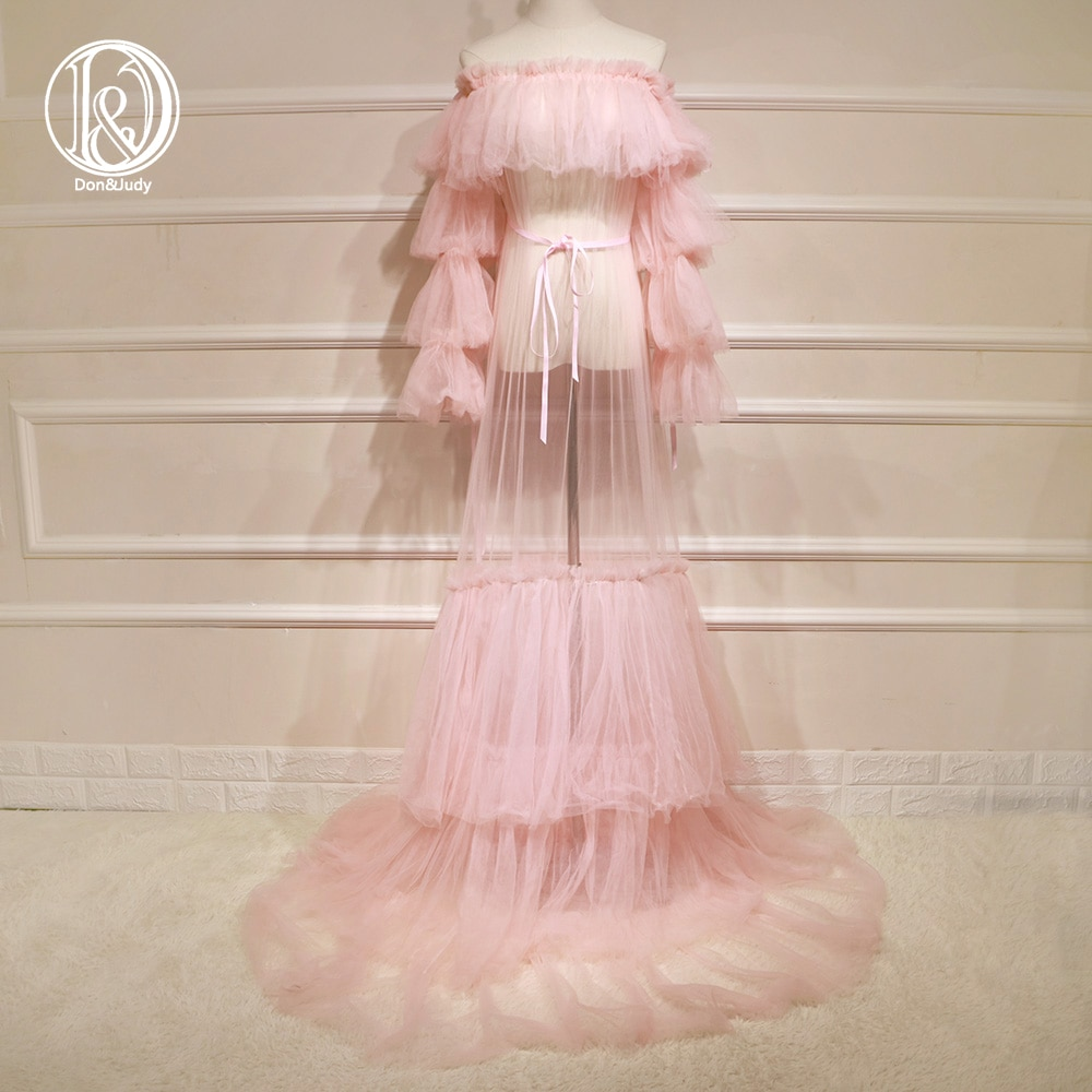Don&Judy Pink Tulle Maternity Dresses Long Evening Dresses Women Off Shoulder Photography Party Gown Prom Pregnant Dress 2021 enlarge
