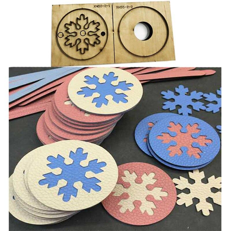 Regla de hoja de acero japonés, troquelado de acero, punzón de copo de nieve, alfombrilla, molde para recortar troqueles de madera para cortador de cuero para artesanías de cuero