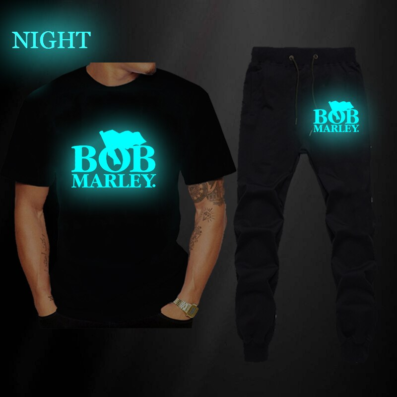 Camiseta luminosa para hombre, pantalones largos, chándal, Joggers, camiseta de verano de manga corta Bob Marley, camiseta de calle, Tops, camisa de gran tamaño para hombre