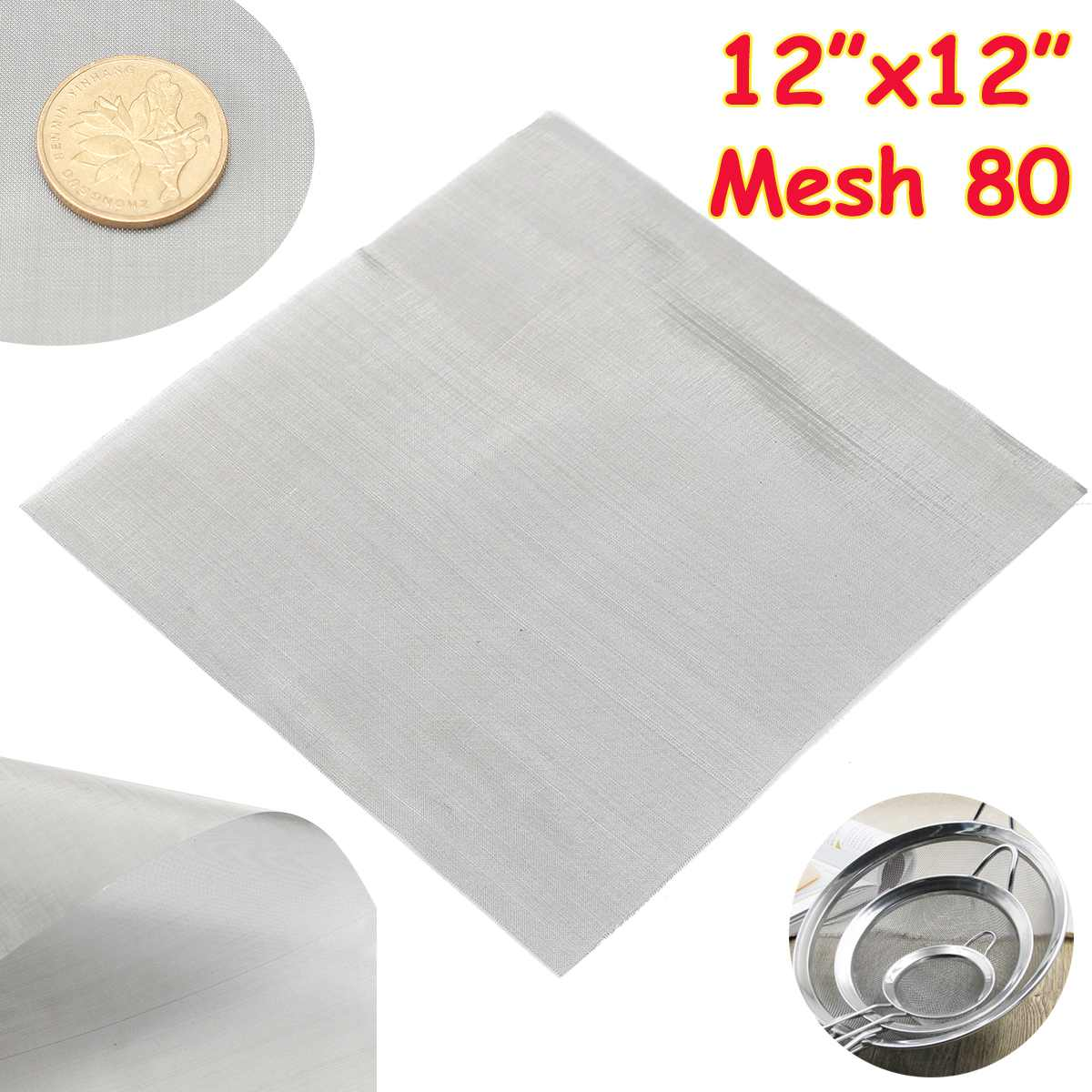 1pc 80 Mesh Woven Wire Cloth Screen Filtration 304 Stainless Steel 30x30cm with High Temperature Res
