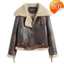 진짜 2020 겨울 모피 코트 여성 자연 양 Shearling 정품 가죽 자켓 여성 짧은 Streetwear 양피 코트 Hiver 016