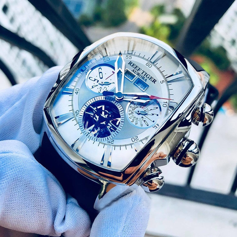 Reef Tiger/RT Top Brand Luxury Big Watch White Dial Mechanical Tourbillon Sport Watches Relogio Masc