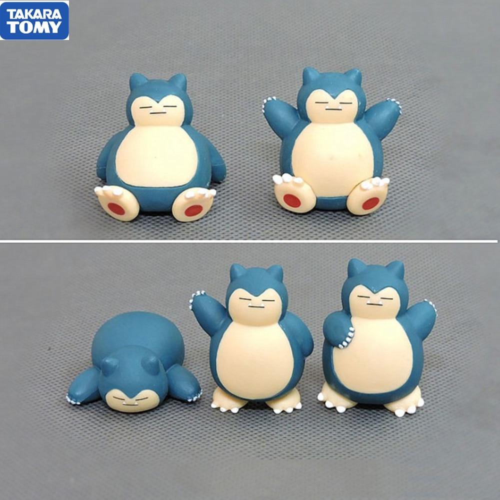5 шт. покемон аниме фигурки монстра Snorlax Покемон кукла торт украшения модель игрушки Аниме Фигурки ПВХ Покемон подарки
