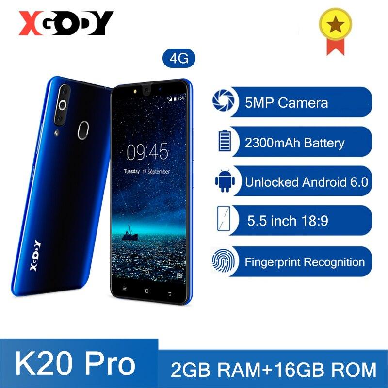 XGODY K20 Pro 4G Smartphone Fingerprint Mobile Phones 2GB 16GB Dual Sim 5.5