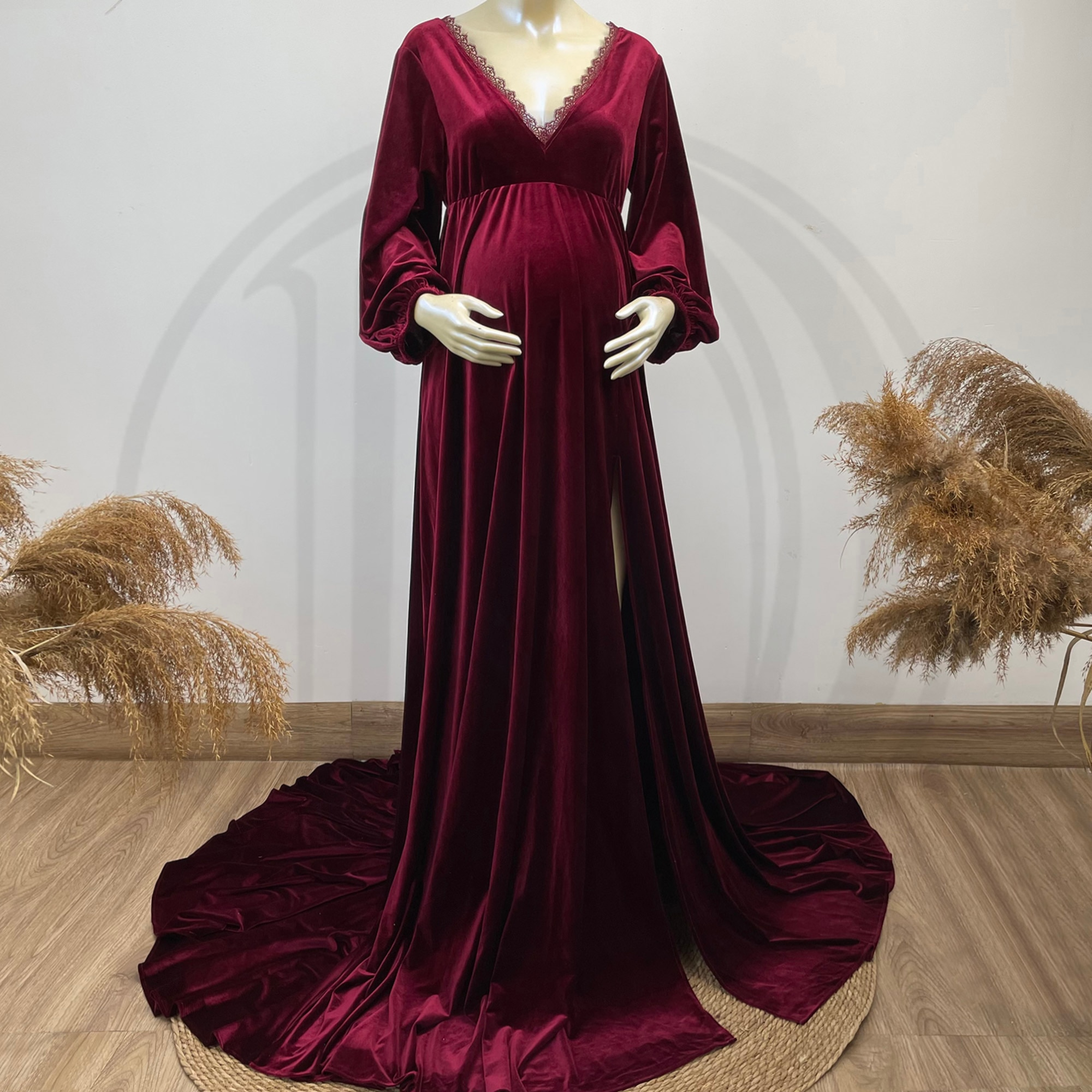 Photo Shoot Boho Robe Maxi White Edge Maternity Dress with Long Cape Pregnancy Velvet Gown for Woman Photography Accessories