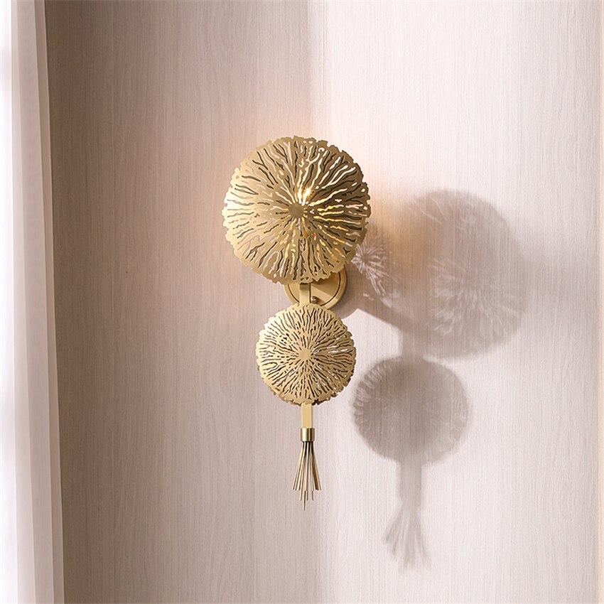 مصباح حائط أمريكي فاخر ، أوراق لوتس نحاسية ، إضاءة حائط ، مصباح دراسة ، الممر ، غرفة المعيشة ، الممر