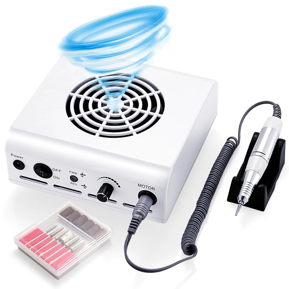 80W 2-in-1 35000RPM Nail Drill Machine & Collector Vacuum Cleaner Nail Dust Nail Art Equipment Manic