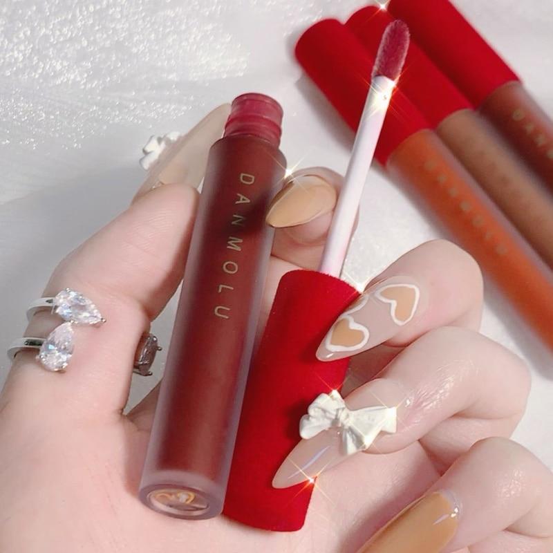 4 Pcs One Set Red Lip Gloss Tint Velvet Matte Liquid Lipsticks Long Lasting Moisturizer Pigment Wome