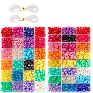 Pony Beads, 1,900 Pcs 9mm Pony Beads Set in 24 Colors with Elastic String for Bracelet Jewelry Making