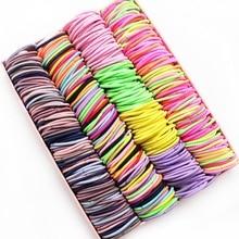 New 100PCS/Lot Girls Candy Colors Nylon 3CM Rubber Bands Children Safe Elastic Hair Bands Ponytail H