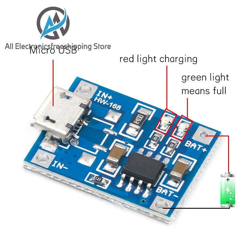 100 pces tp4056 1a lipo placa de carregamento da bateria carregador módulo bateria lítio diy micro porta mike usb nova chegada