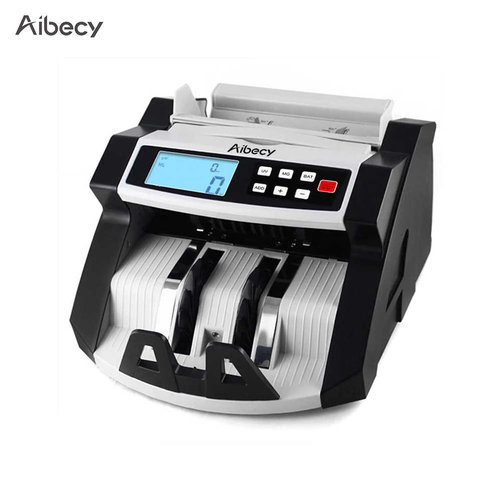 Aibecy, máquina contadora de billetes de banco en efectivo, multimoneda, automática, pantalla LCD para EURO dólar de EE. UU., AUD Pound