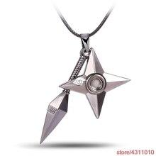 Anime NARUTO collier Konoha Logo Uzumaki Naruto pendentif collier Shuriken dard arme pendentif cuir corde Ninja Cosplay