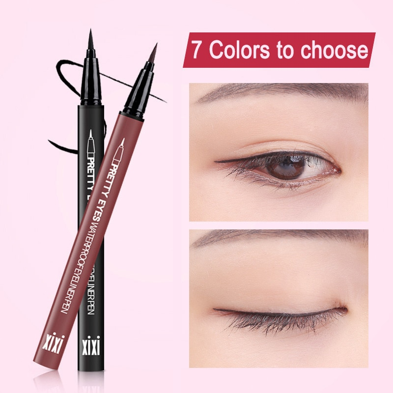 Lápiz Delineador de ojos líquido, Marrón Natural, 7 colores, resistente al agua, larga duración, Lápiz Delineador de ojos, maquillaje, secado rápido, suaves, cosméticos