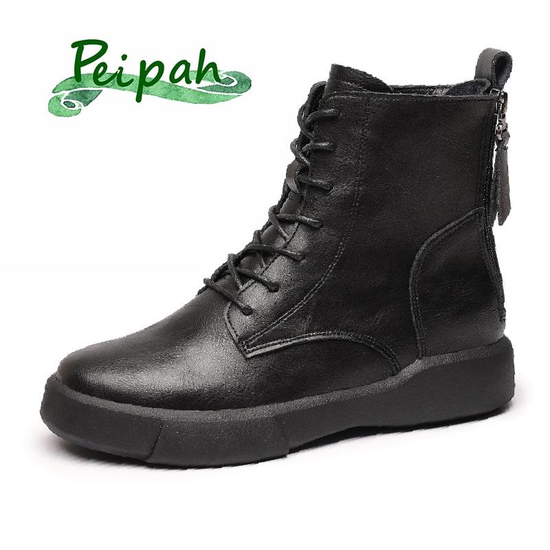 PEIPAH النساء المطاط حذاء من الجلد السيدات حقيقية أحذية من الجلد للنساء شقة مع الفراء قصيرة أفخم الأحذية الإناث الرجعية حذاء كاجوال