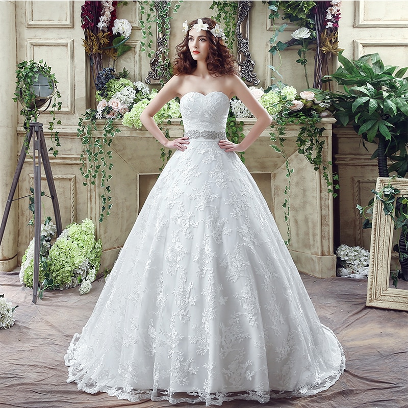 Elegante A-line Vestidos de Novia Sweetheart con delicadas fajines con cuentas encaje...