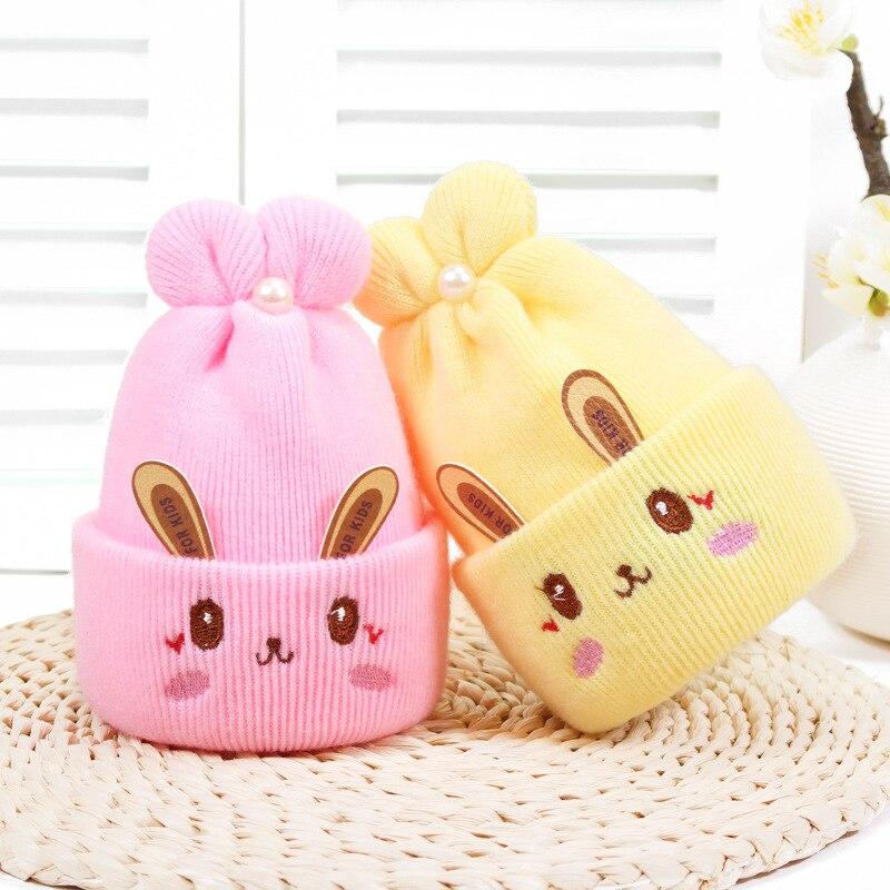 Gorro de malha de crochê quente macio dos desenhos animados do gorro para 0-1 ano do bebê chapéus bonitos do bebê 4 cores