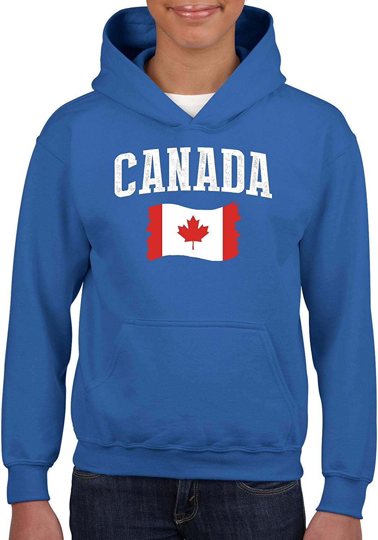 TSDFC Canadá bandera canadiense Unisex Sudadera con capucha para niñas y niños sudadera Juvenil (XSRB) azul real Unisex hombres mujeres Sudadera con capucha