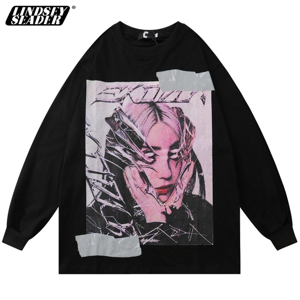 Camisetas de manga larga con estampado de figuras Eilish 2020 para hombre y mujer, camisetas casuales estilo Hipster Hip Hop