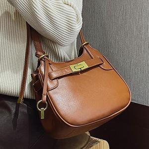 Vintage Square Armpit bag 2020 Fashion New High quality PU Leather Women's Designer Handbag Lock Shoulder Messenger Bag Travel