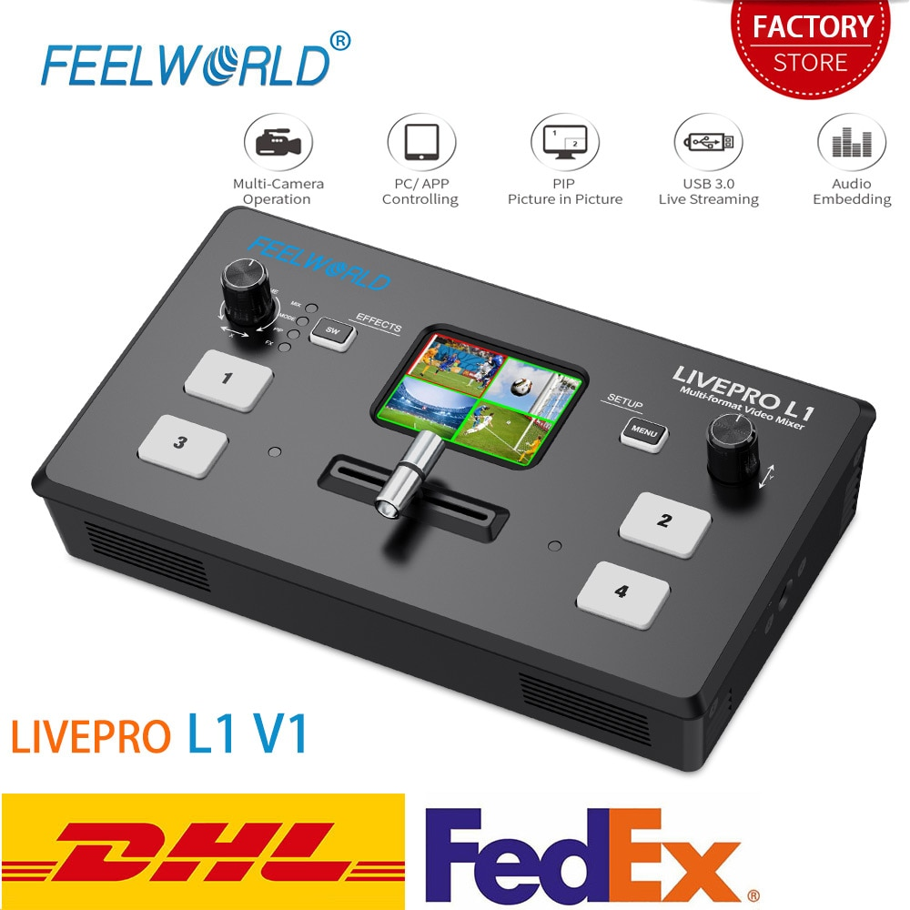 FEELWORLD-محول فيديو LIVEPRO L1 V1 ، محول فيديو مباشر 4xHDMI ، Hdmi ، USB3.0 ، تنسيق متعدد ، استوديو ، معاينة ، كاميرا Youtube