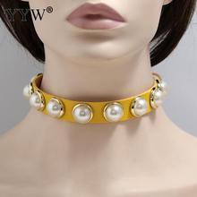 Pearl Velvet Pu Leather Choker Necklace Gothic Punk  Harajuku Fashion Choker Collier Revit Chocker Summer Jewelry